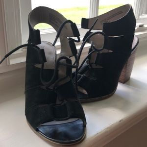 Black lace up heeled sandals